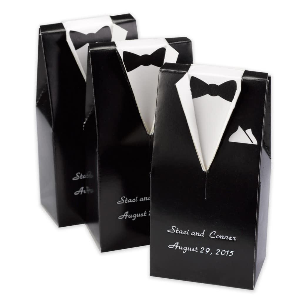 black and white tuxedo box