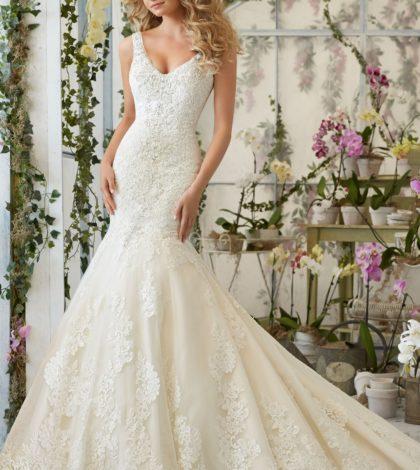 wedding dress with flowers
