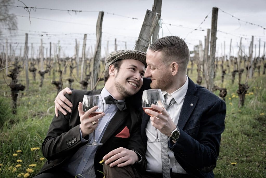 people drinking at wedding