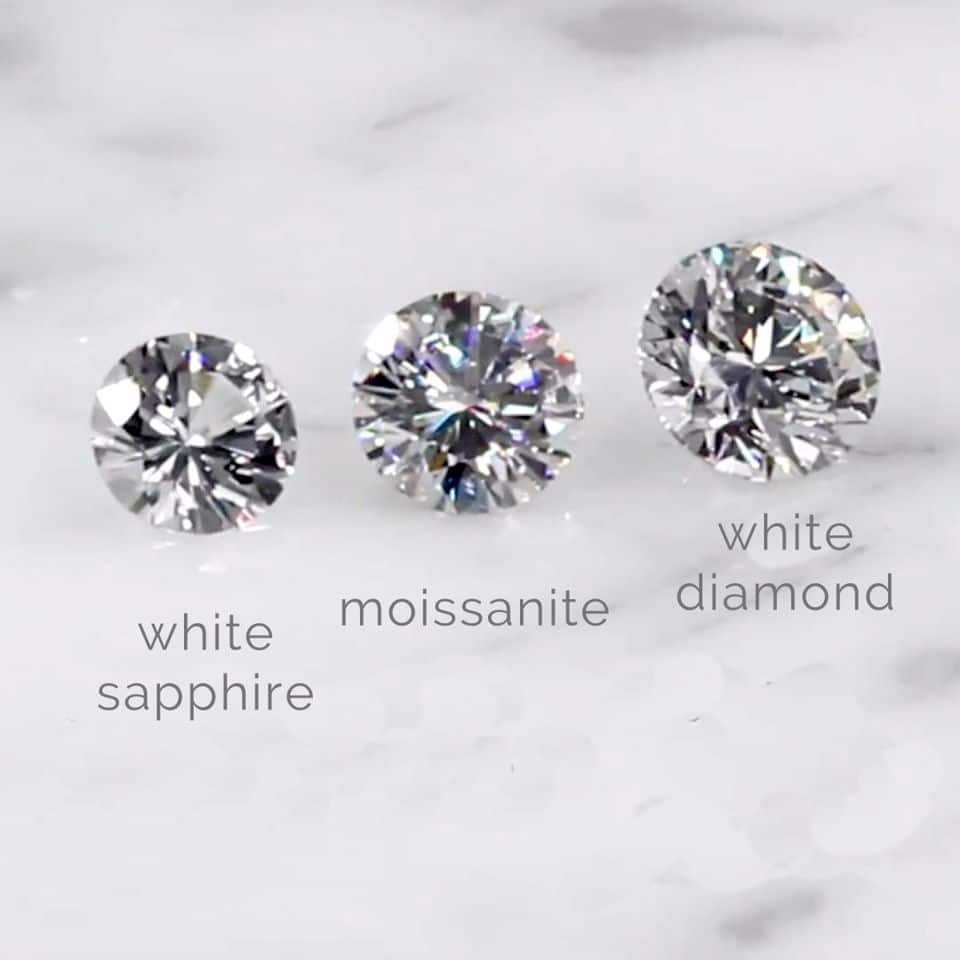 White sapphire and diamonds