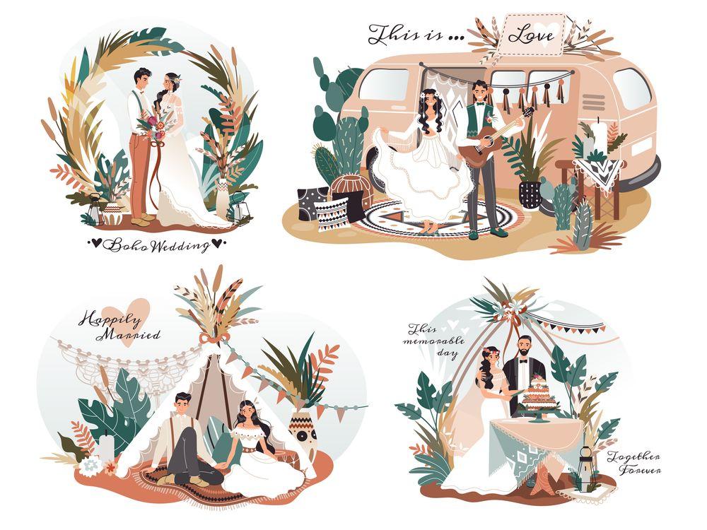 wedding boho style romantic couple cartoon characters illustration