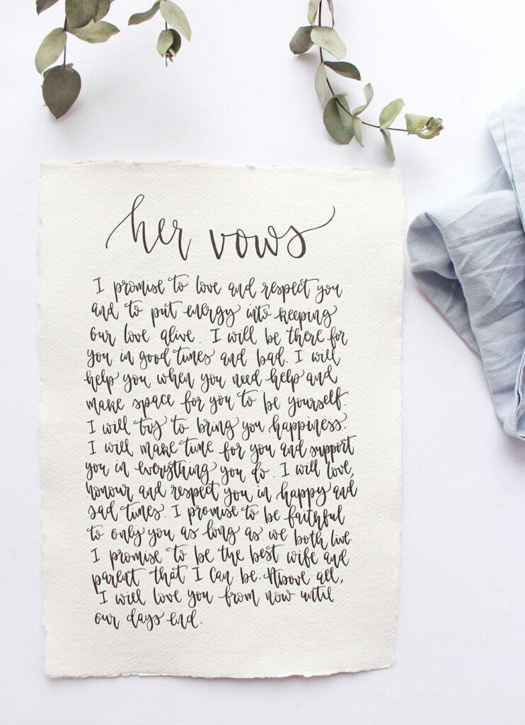 vows on paper wedding idea