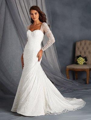 full length sleeves wedding gown