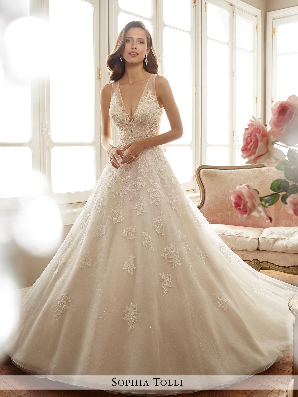 Dress sophia tolli spring 2017 collection y11701 ciel for Mon cheri wedding dress prices